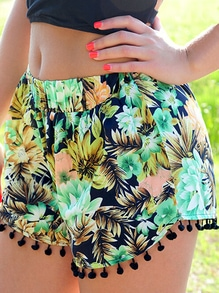 Florals Pom Pom Shorts
