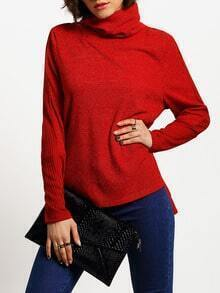 Burgundy Turtleneck Side Slit T-Shirt