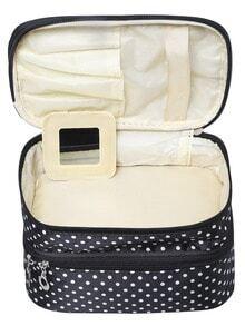 Black Polka Dot Double Layers Cosmetic Bag