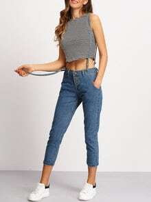 Blue Strap Pockets Denim Pant