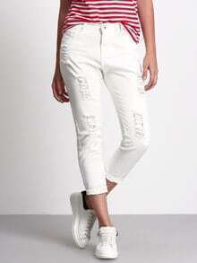 White Ripped Denim Pant