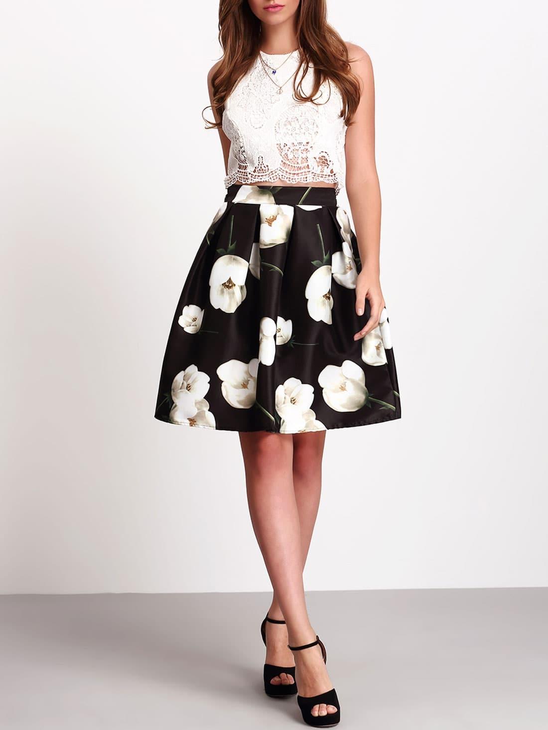 jupe motif fleuri taille haute noir french romwe. Black Bedroom Furniture Sets. Home Design Ideas
