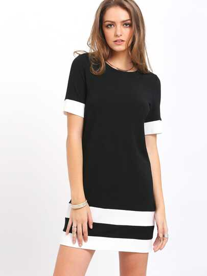797a8f3be Vestido manga corta holgado -negro blanco