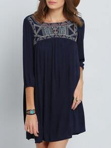 Navy Broderie Antique Long Sleeve Tribal Embellishments Embroidered Dress