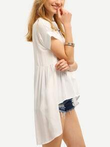 White High Low Pleated T-shirt
