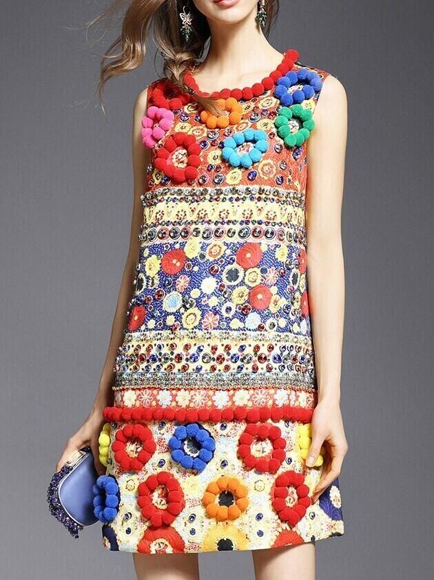 Multicolor Beading Disc Flowers Jacquard Dress