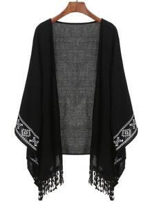 Black Aztec Print Fringe Kimono