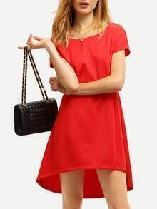 Red V Cut Back High Low Dress