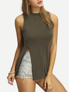 Army Green Mock Neck Split Tank Top