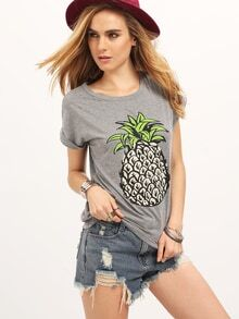 Grey Short Sleeve Letters Print Loose T-Shirt