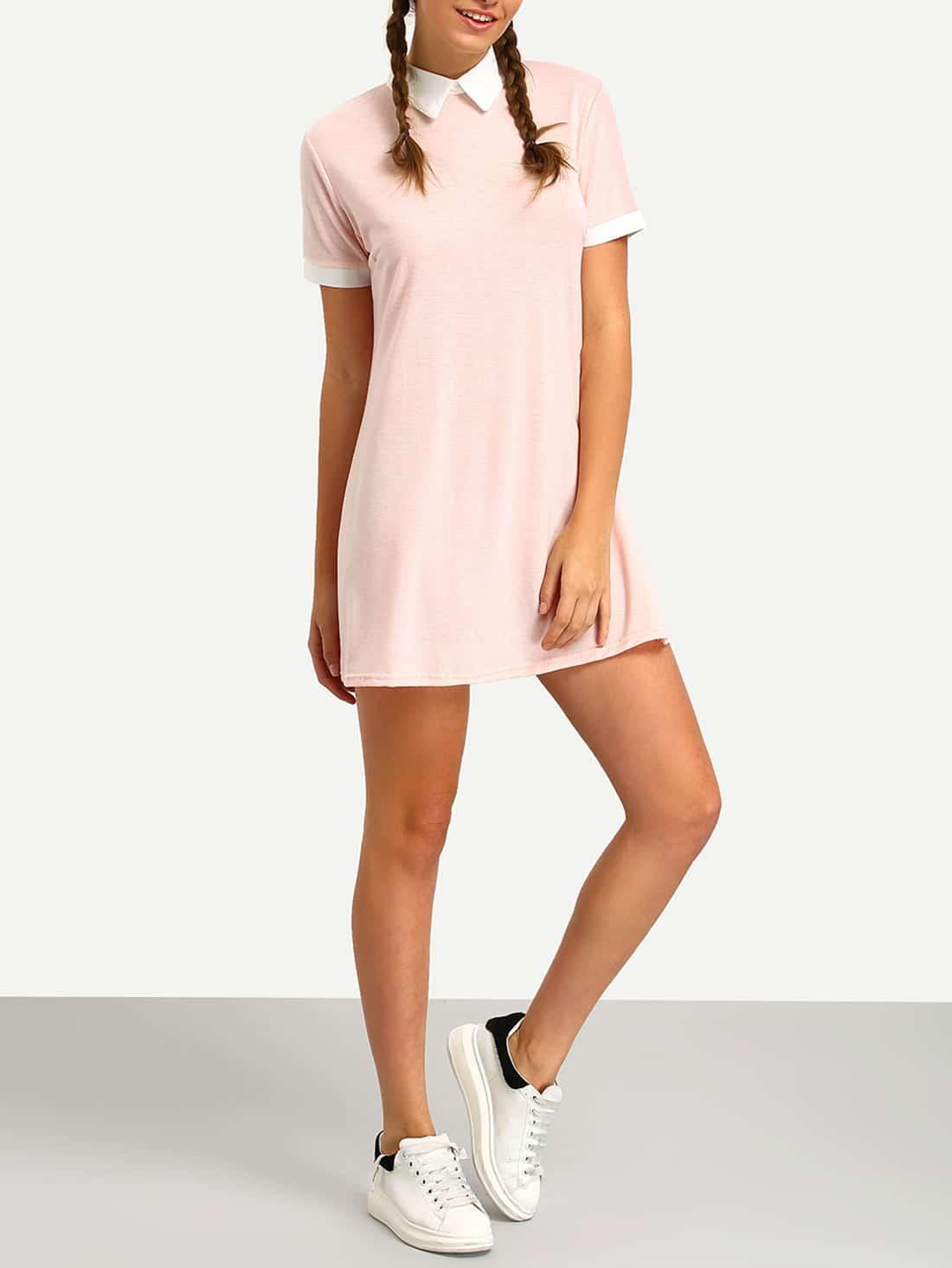 Pink Contrast Collar Shirt DressFor Women-romwe