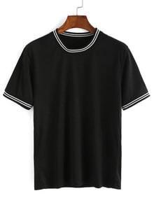 Black Striped Trim T-shirt