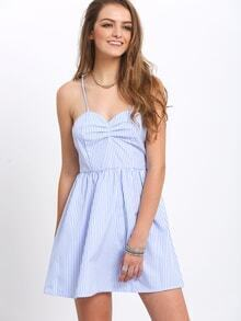 Blue Spaghetti Strap Vertical Striped Lace Up A-Line Dress
