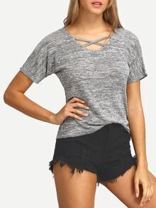 Crisscross Front Neck Grey T-shirt
