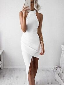 High Neck Asymmetric Bodycon Dress
