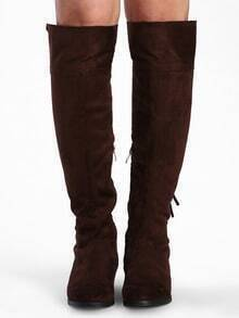 Brown Tassel Suede High Boots