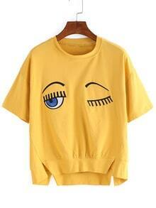 Dip Hem Eye Embroidered Split T-shirt