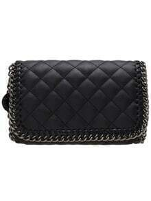 Black PU Diamond Chain Shoulder Bag