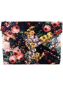 Black Rivet Floral Clutch Bag
