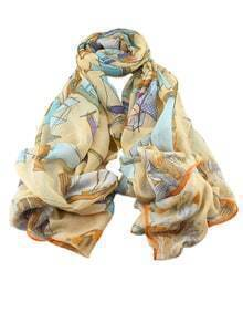 Orange Voile Boat Printed Soft Scarf