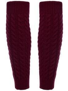 Wine Red Leg Warmers Knitting Crochet Socks
