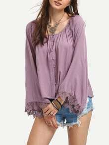 Bell Sleeve Lace Insert Buttons Shirt