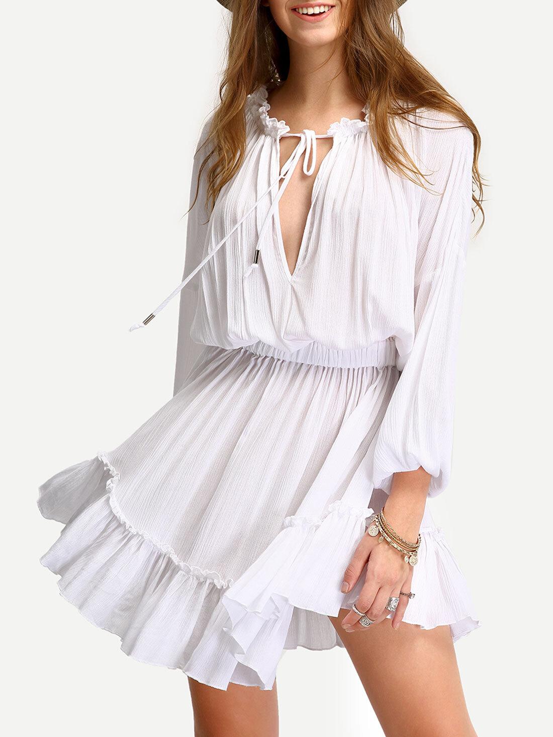 e031ad96bffa White Deep V Neck Lantern Sleeve Ruffle Lace Up Dress