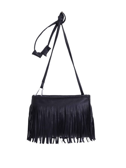 Faux Leather Tassel Crossbody Bag - Black