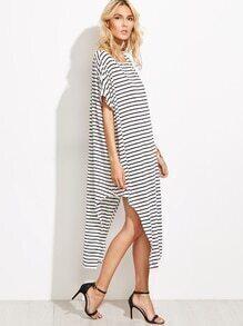 Striped Boat Neck Asymmetric Swing Dress