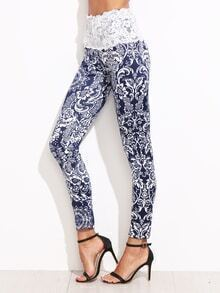 Tribal Print Lace Applique Waist Legging