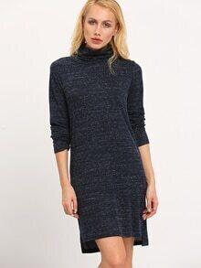 Navy High Neck Side Slit Dress