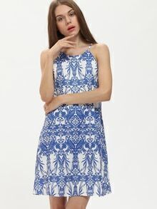 Blue Print In White Spaghetti Strap Shift Dress