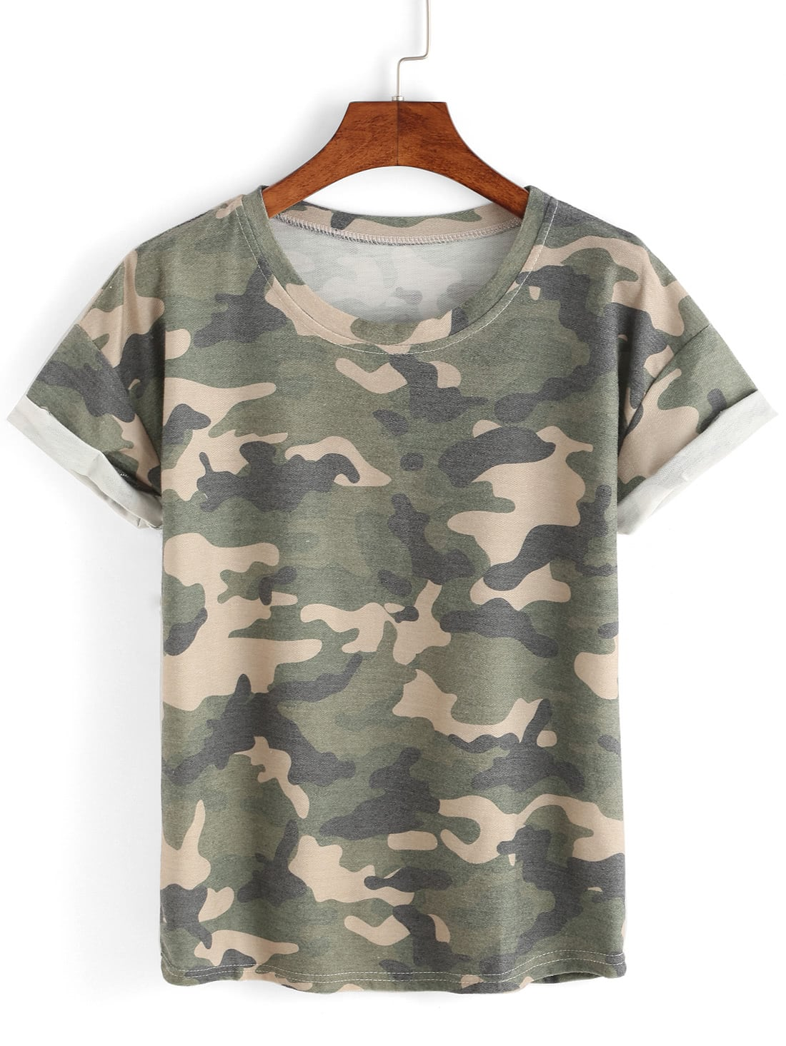 Rolled Sleeve Camouflage T Shirt Romwe