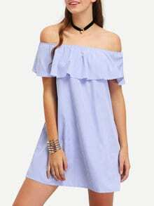 Vertical Striped Ruffled Off-The-Shoulder Dress
