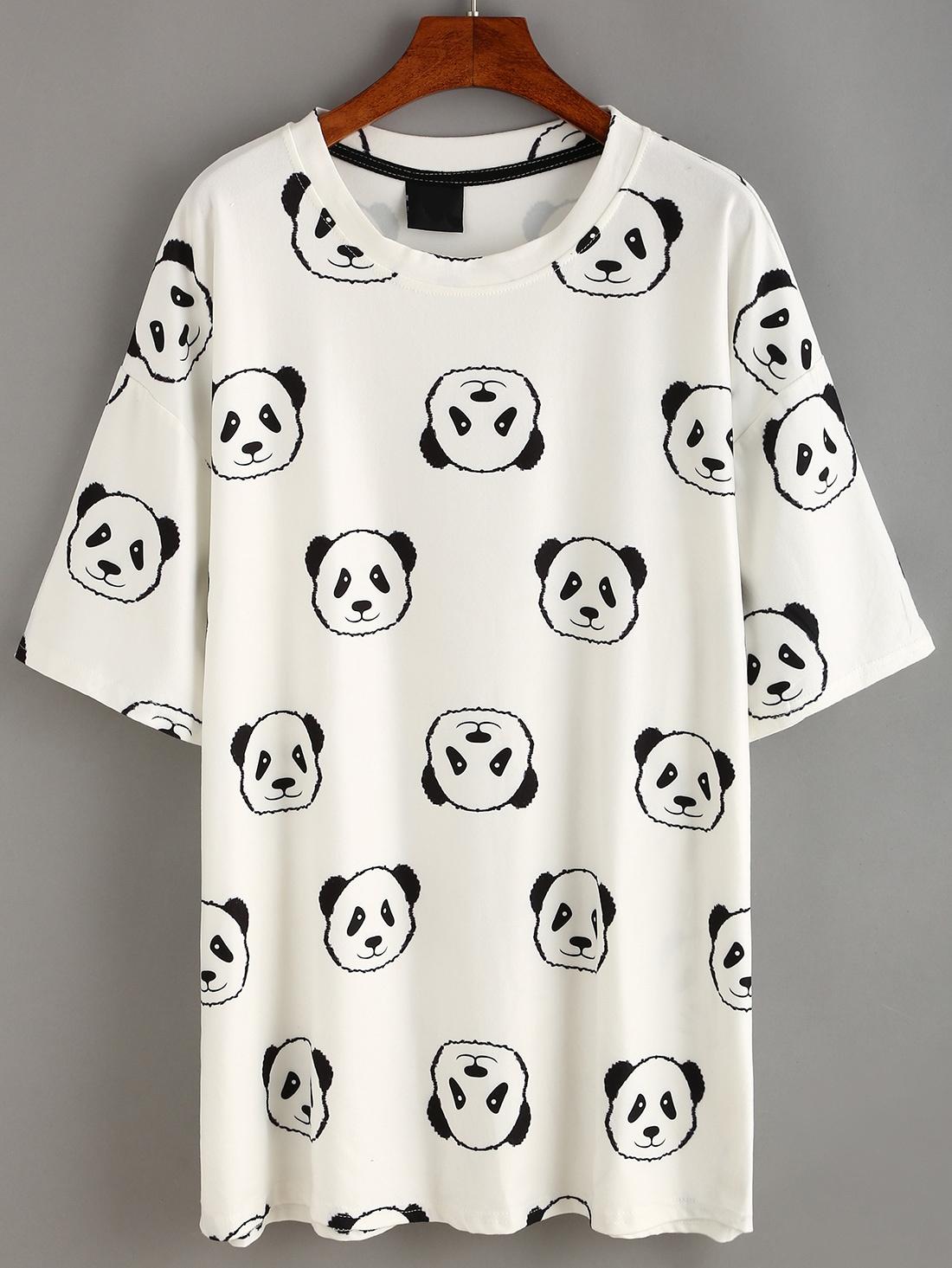 White Panda Print T Shirt Dress Romwe