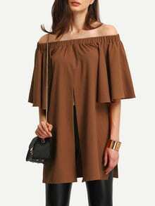 Dark Coffee Off The Shoulder Split Blouse