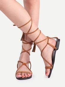 Brown Fringe Open Toe Lace Up Sandals