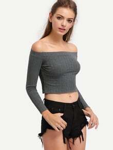 Off-The-Shoulder Ribbed Long Sleeve Top - Grey