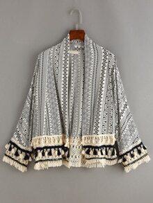 Tassel Trimmed Tribal Print Coat