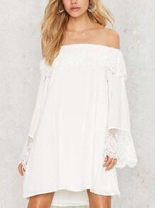 Lace Trimmed Off-The-Shoulder Swing Dress