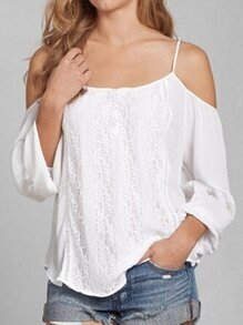 Lace Insert Cold Shoulder Chiffon Top