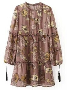 Dark Coffee Ruffle Neck Tassel Lantern Sleeve Print Dress