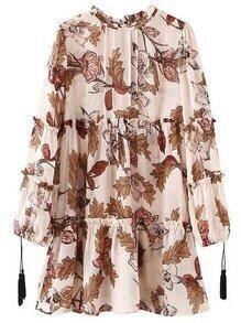 Pink Ruffle Neck Tassel Lantern Sleeve Print Dress
