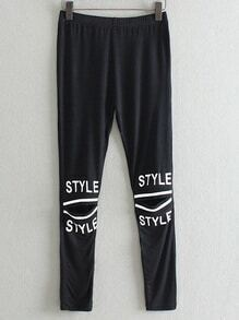 Black Elastic Waist Letters Print Hole Leggings
