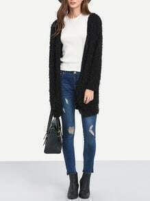 Black Long Sleeve Faux Fur Coat