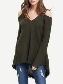 Jersey hombro al aire asimétrico -verde oscuro