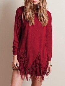 Suéter cuello redondo flecos -borgoña