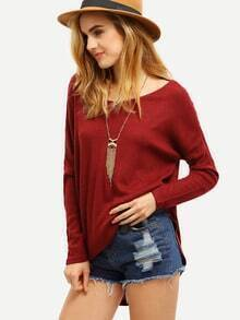 Burgundy Long Sleeve Loose Sweater