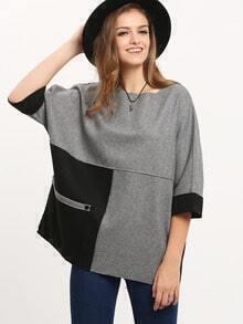 Grey Color Block Pockets Sweatshirt