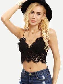 Black Crochet Overall Slip Lingerie